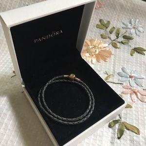 Pandora Leather Gray Bracelet with 14K Gold Clasp